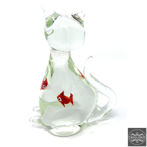 "New 7"" Hand Blown Glass Clear Color Cat Sculpture with Fish Inside Figurine"