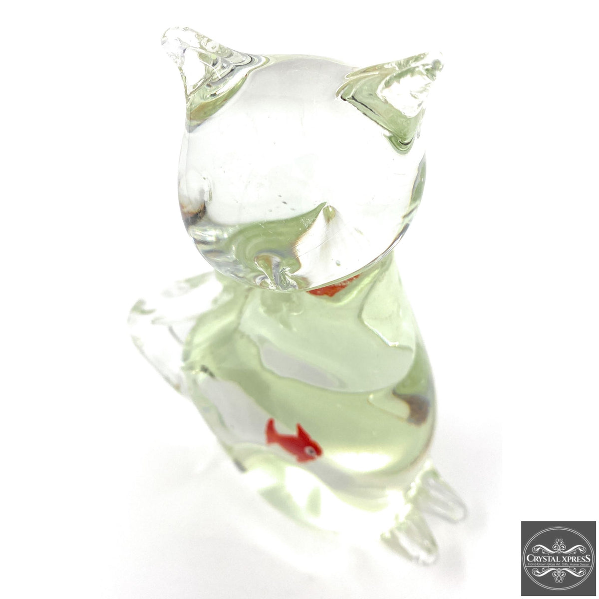 "New 7"" Hand Blown Glass Clear Color Cat Sculpture with Fish Inside FigurineCrystal Xpress"