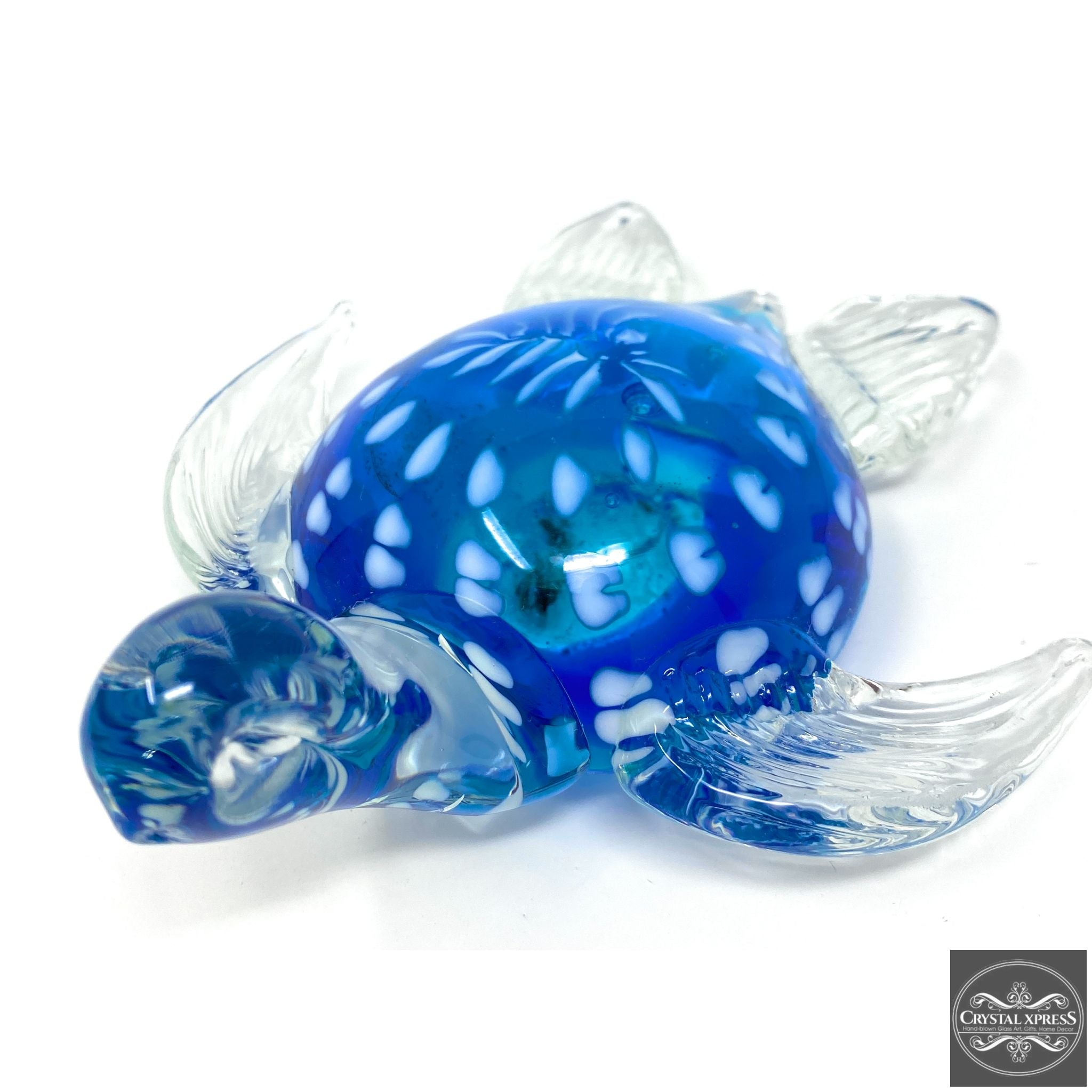 "New 7"" Hand Blown Glass Blue with White Dots Turtle Sculpture Figurine"