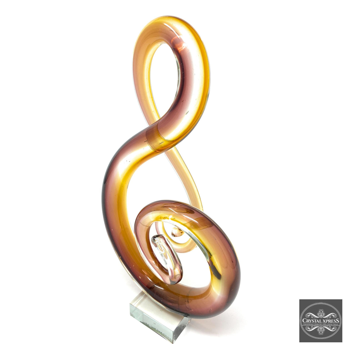 "New 12"" Hand Blown Glass Amber Golden Music Note Abstract Glass Art SculptureCrystal Xpress"