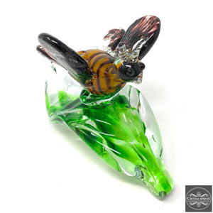 Amazing Hand Blown Glass Yellow Bee on a Leaf Sculpture