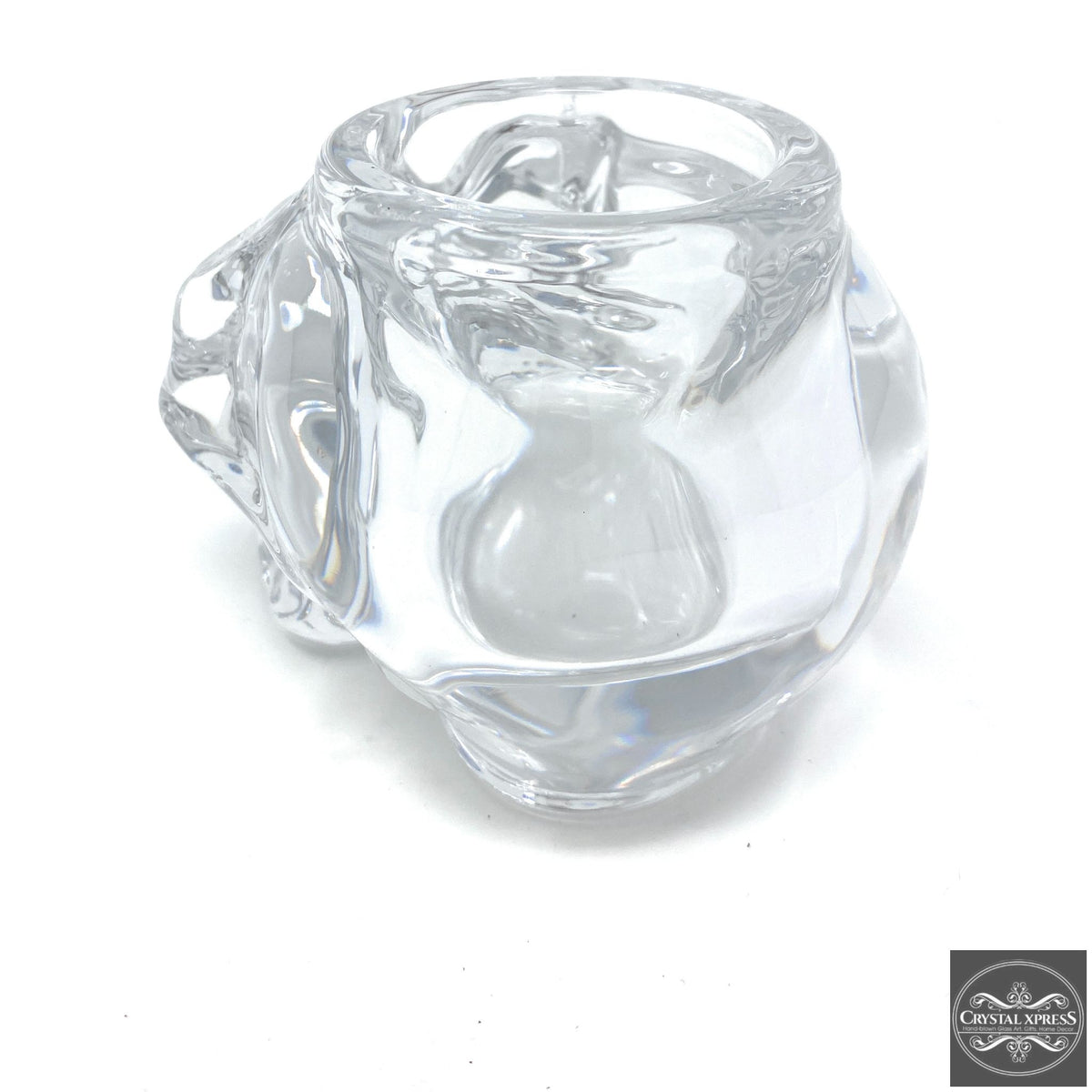 "5"" Clear Glass Skull Halloween Candle HolderCrystal Xpress"