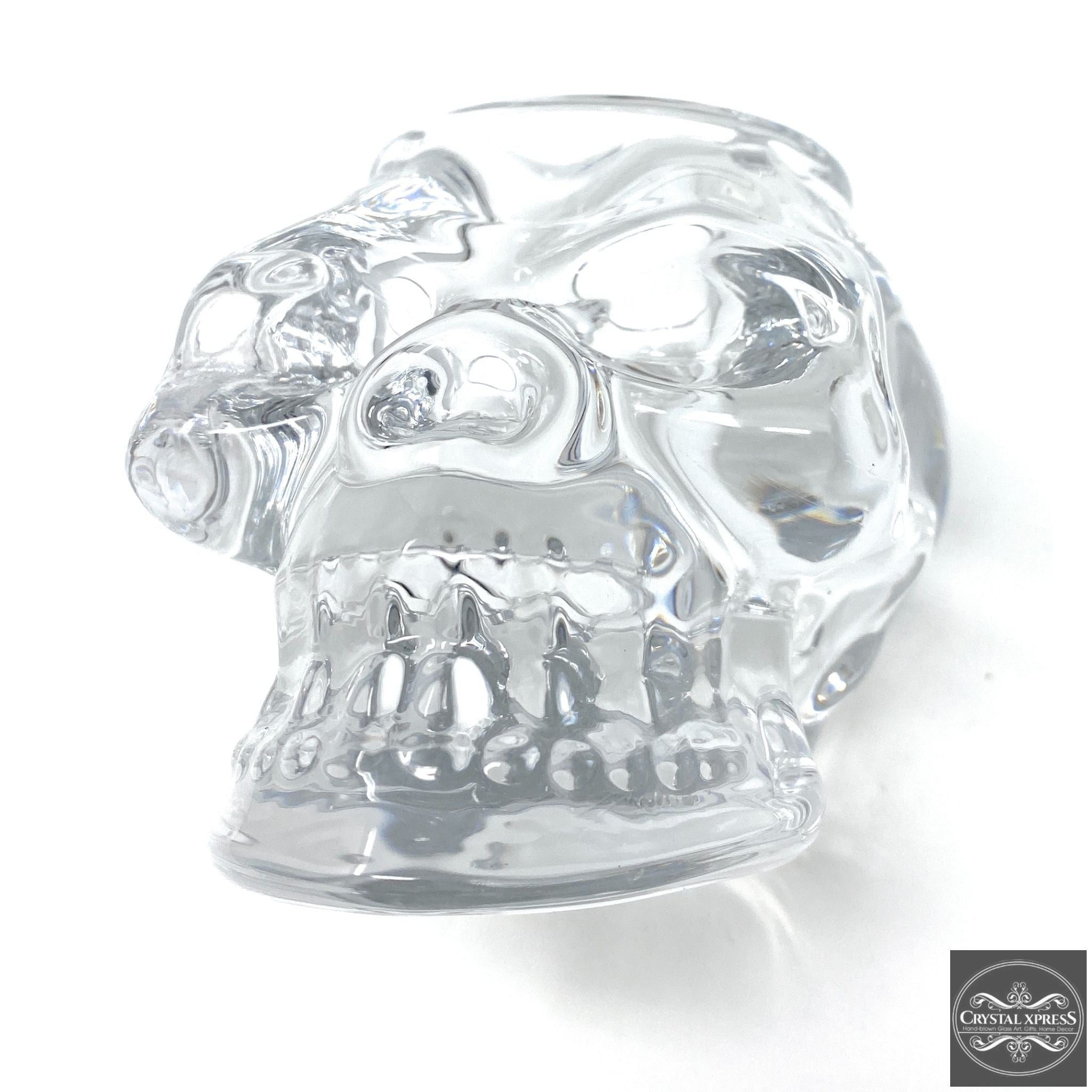 "5"" Clear Glass Skull Halloween Candle Holder"