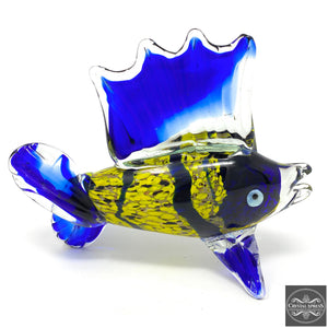 "New 10"" Hand Blown Blue and Yellow Tropical Fish Sculpture Figurine"