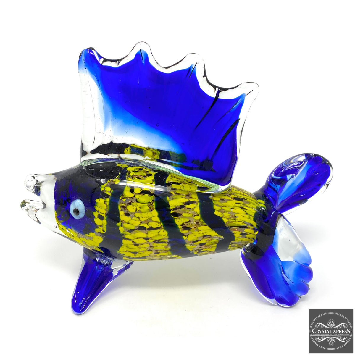 "New 10"" Hand Blown Blue and Yellow Tropical Fish Sculpture FigurineCrystal Xpress"