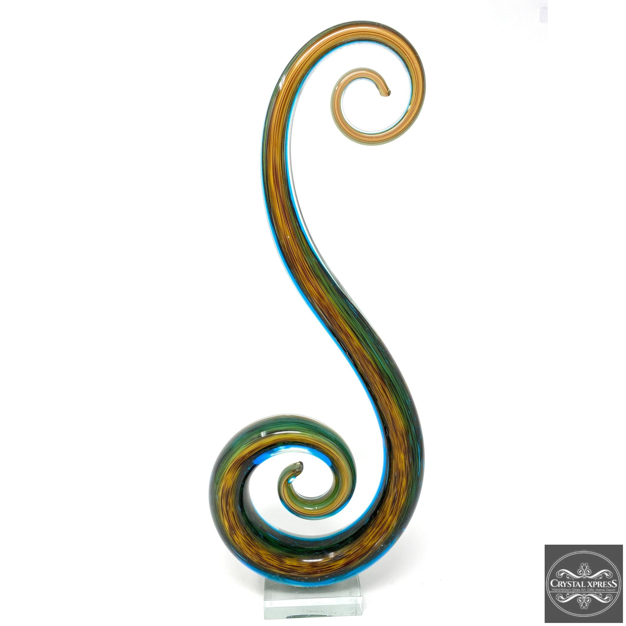 "New 18"" Hand Blown Glass Music Note Sculpture ArtCrystal Xpress"