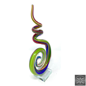 "New 11"" Hand Blown Glass Music Note Multi Color Note Abstract Glass Art"