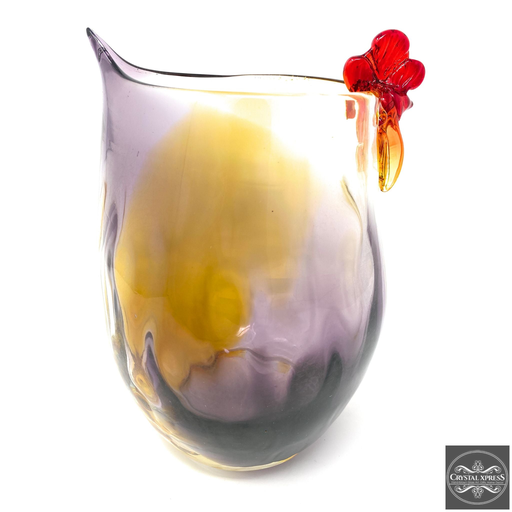 "New 10"" Hand Blown Glass Hand Blown Glass Purple And Golden Chicken Sculpture Vase"