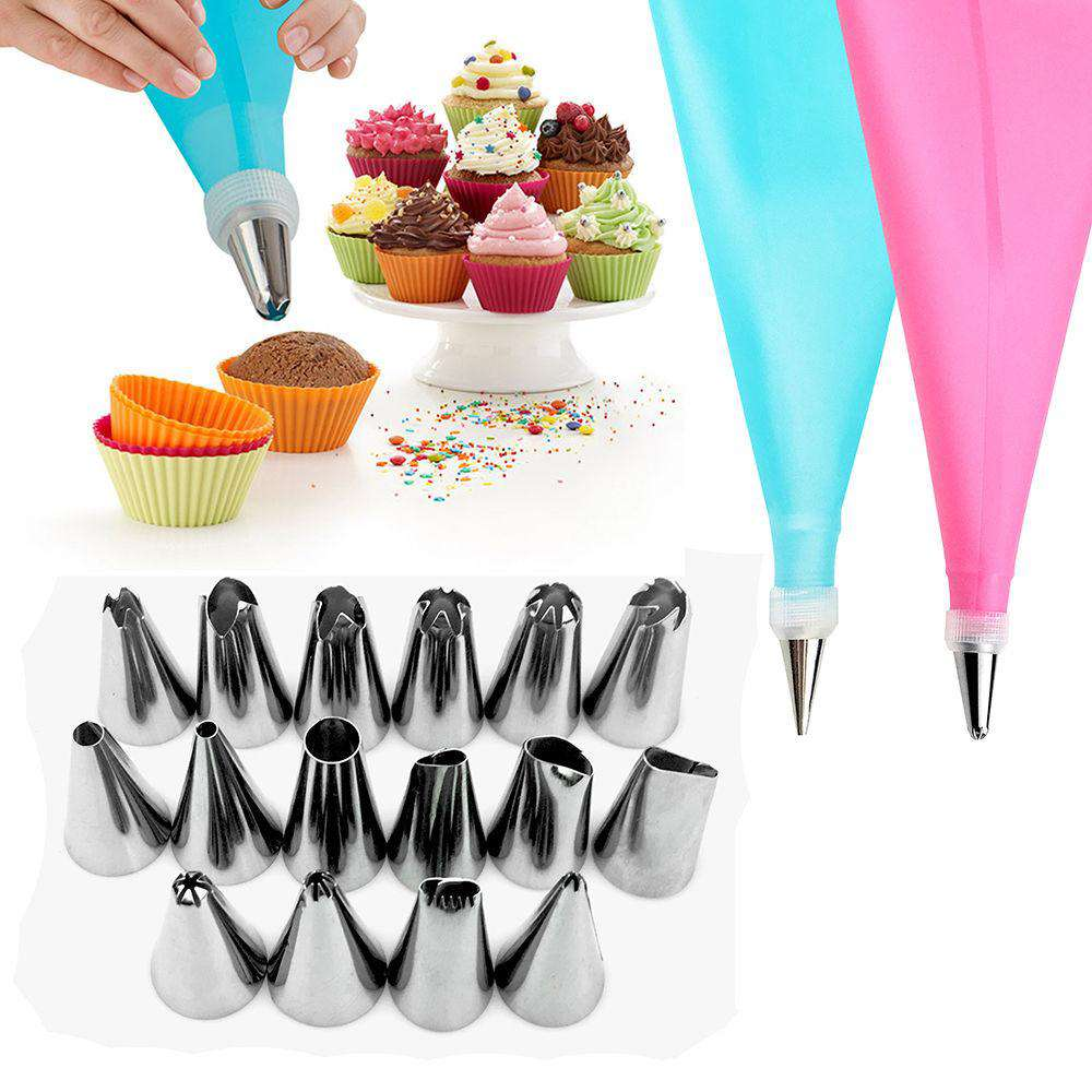 Icing Piping Cream Pastry Bag + 16 Nozzle SetCrystal Xpress