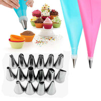 Icing Piping Cream Pastry Bag + 16 Nozzle Set
