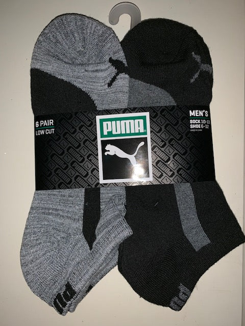 PUMA 6 Pack Low Cut Socks Dark Gray and Black - Mens
