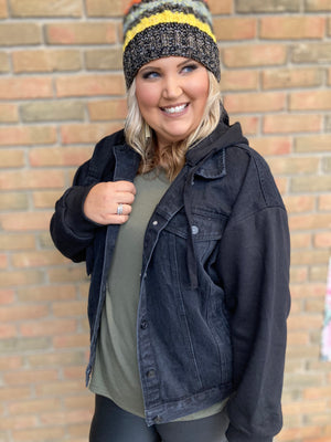 Elena Hooded Jean Jacket - Curvy