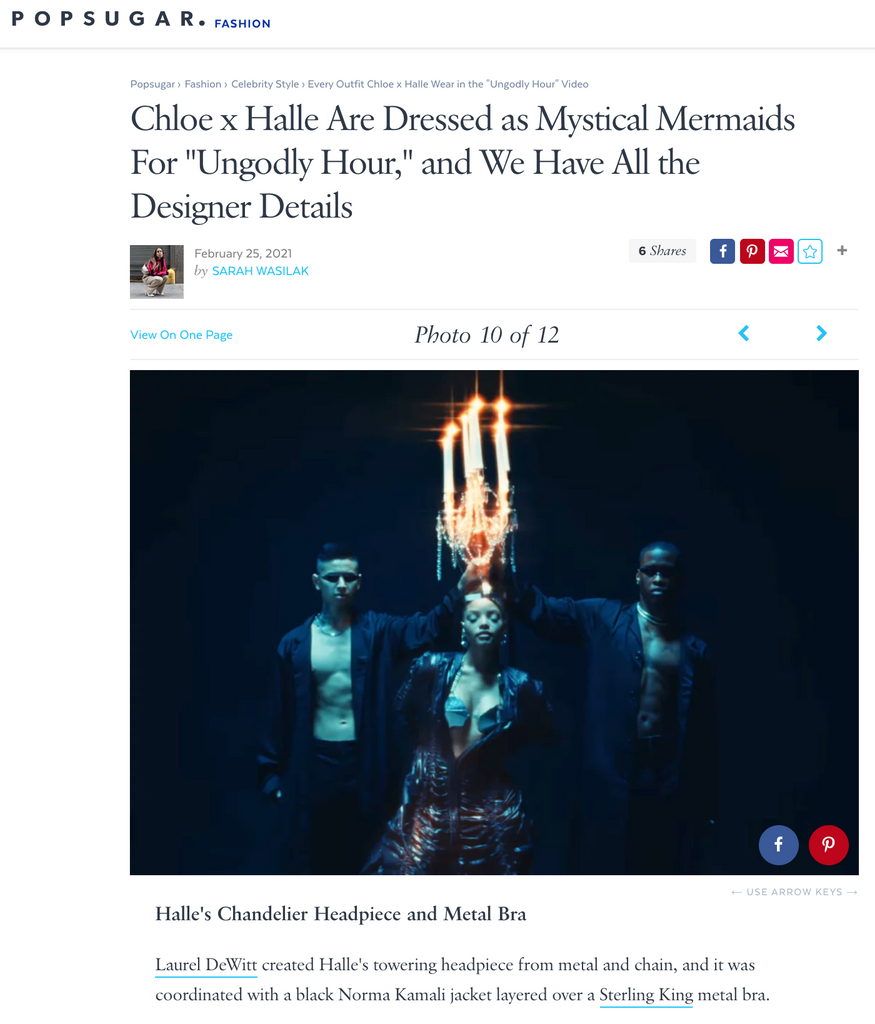 """Popsugar features Halle Bailey wearing a custom Sterling King metal bra for the """"Ungodly Hour"""" music video"""
