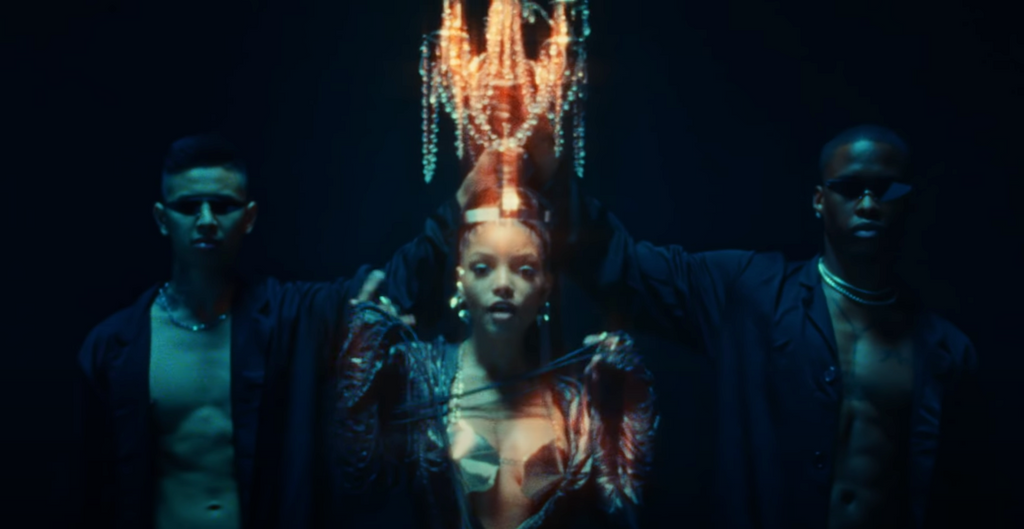 """Halle Bailey wears a custom Sterling King metal bra for the """"Ungodly Hour"""" music video"""