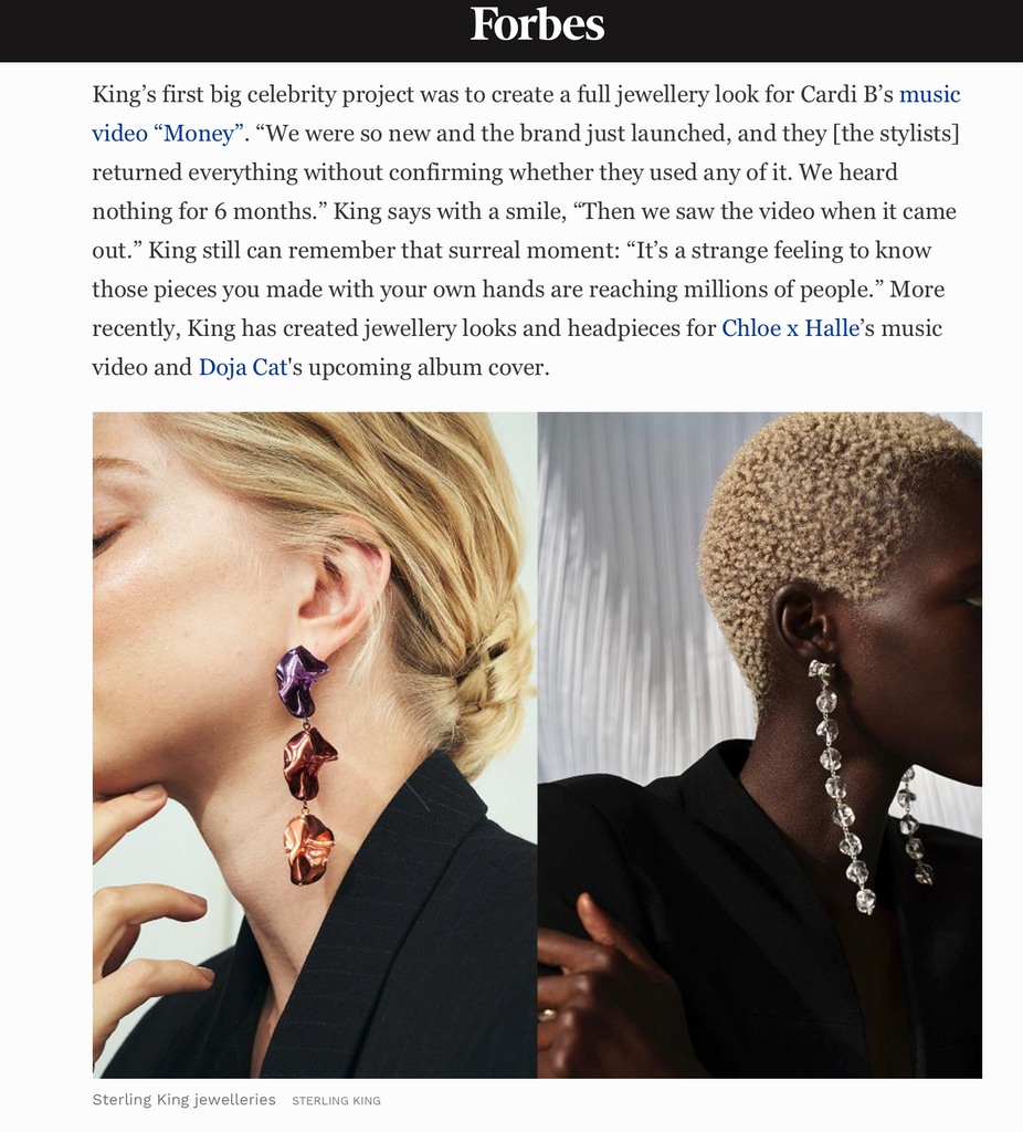 Sterling King new collection featured in Forbes Magazine