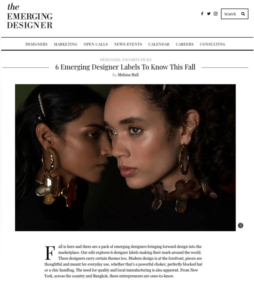"""Sterling King featured in The Emerging Designer, """"6 Emerging Designers To Know This Fall"""""""