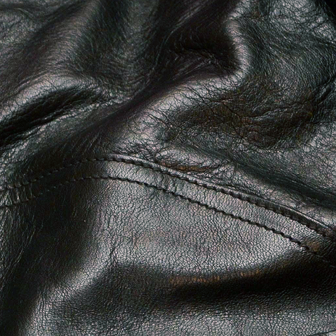 Shinki Horsehide Black Oil Tan Swatch