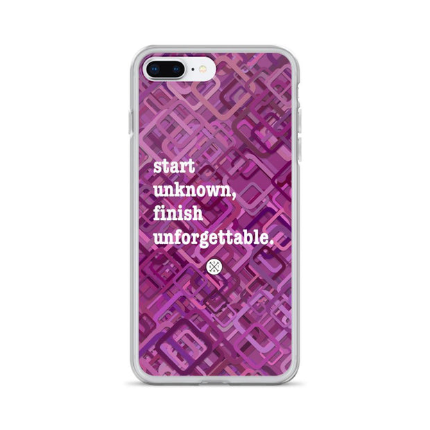 Start Unknown Finish Unforgettable Purple iPhone Case