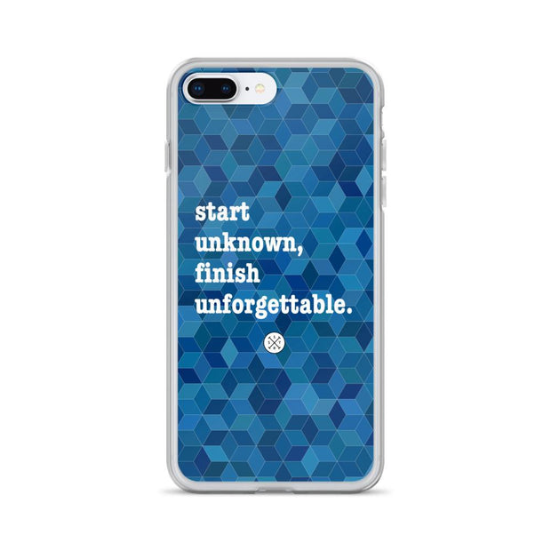 Start Unknown Finish Unforgettable Blue iPhone Case
