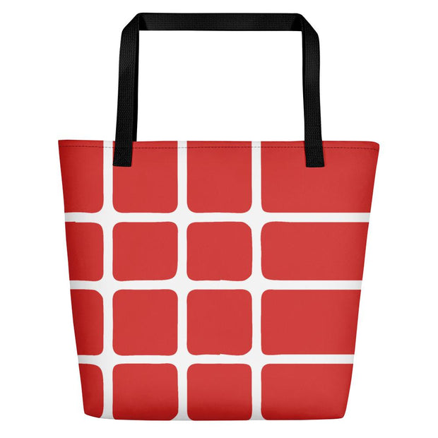 Linear Red Beach and Tote Bag