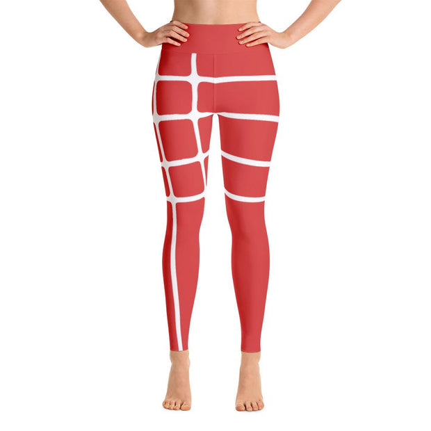 Linear Red Yoga Leggings