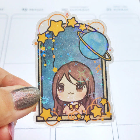 Sunny the Girl Galaxy Vinyl Die Cut Sticker Die Cut Sticker Die Cut (DC001)