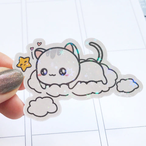 Sushi the Cat Star and Cloud Vinyl Die Cut Sticker (DC003)