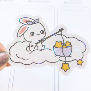 Sugar Bun the Bunny Fishing Star Vinyl Die Cut Sticker(DC004)