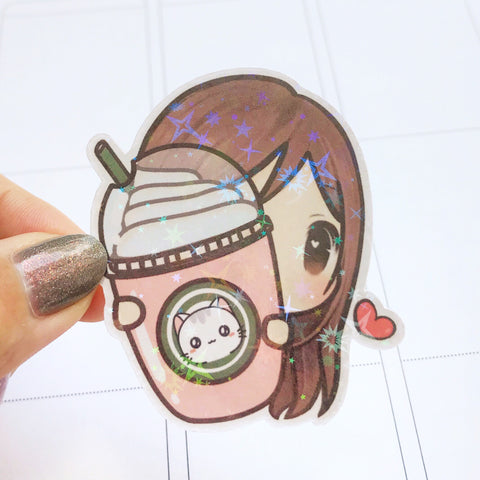 Coffee / Frappuccino Sunny the Girl Holographic Flake Die Cut Sticker (DC005)