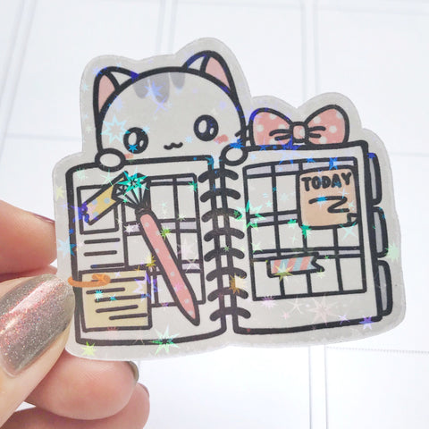 Sushi the Cat Planner Vinyl Holographic Flake Die Cut Sticker (DC006)