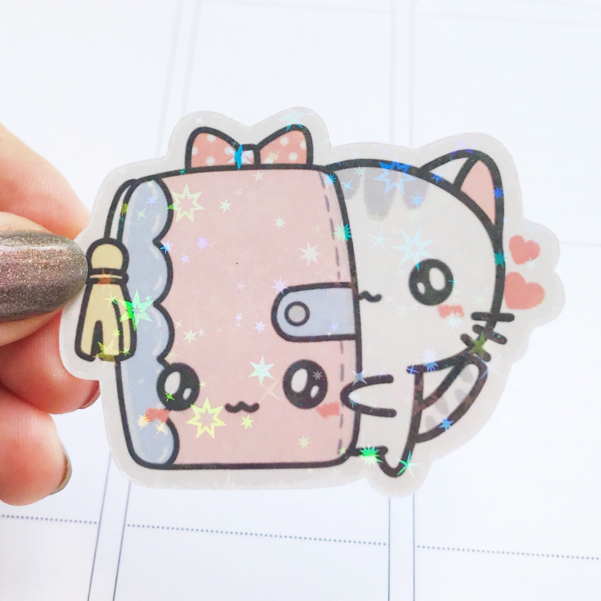 Sushi the Cat Ring Planner Holographic Flake Die Cut Sticker (DC007)