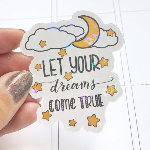 Galaxy Quote Star and Moon Vinyl Holographic Flake Die Cut Sticker (DC008)