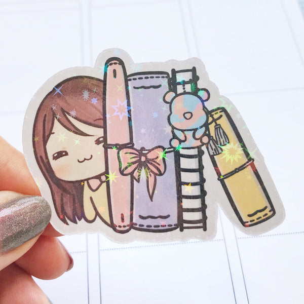 Sunny the Girl Planners Holographic Flake Die Cut Sticker (DC009)