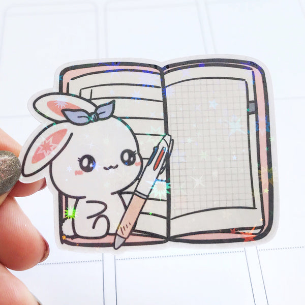 Sugar Bun the Bunny Hobonichi Weeks Holographic Flake Die Cut Sticker (DC011)