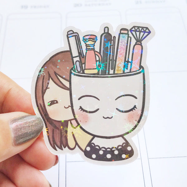 Planner Mug and Pens Sunny the Girl Holographic Flake Die Cut Sticker (DC012)