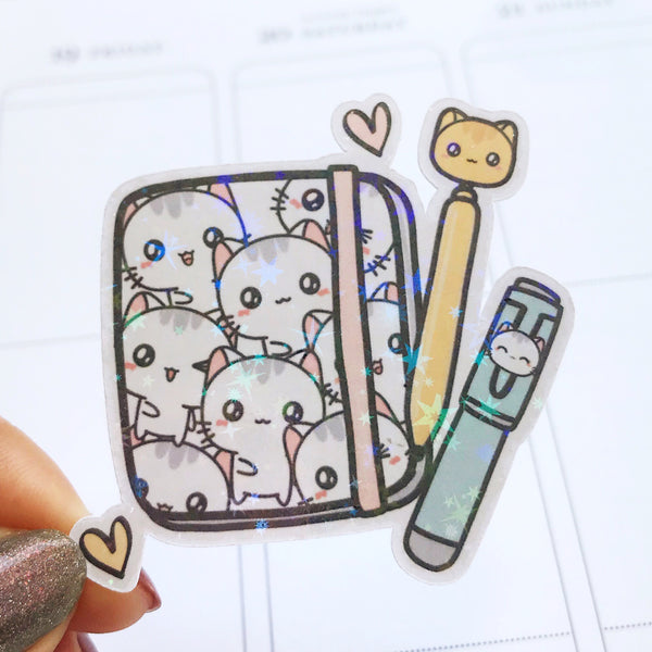 Planner and Pens Holographic Flake Die Cut Sticker (DC017)