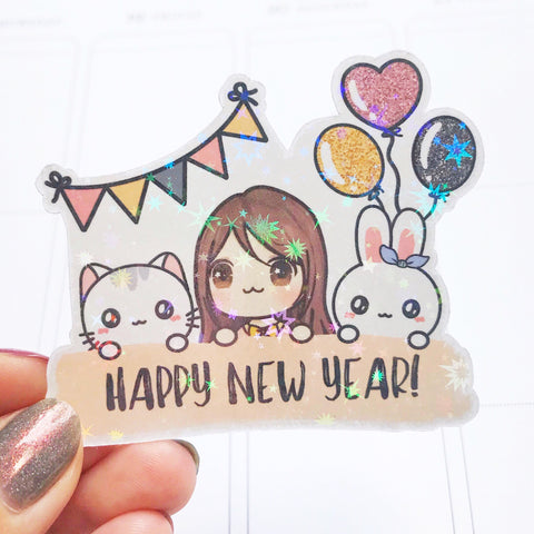 Happy New Year Character Holographic Flake Die Cut Sticker (DC018)