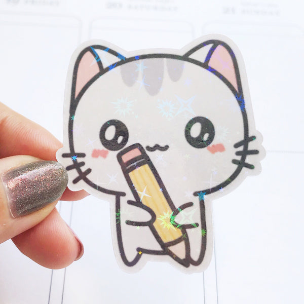 Sushi the Cat Writing Pen Holographic Flake Die Cut Sticker (DC019)
