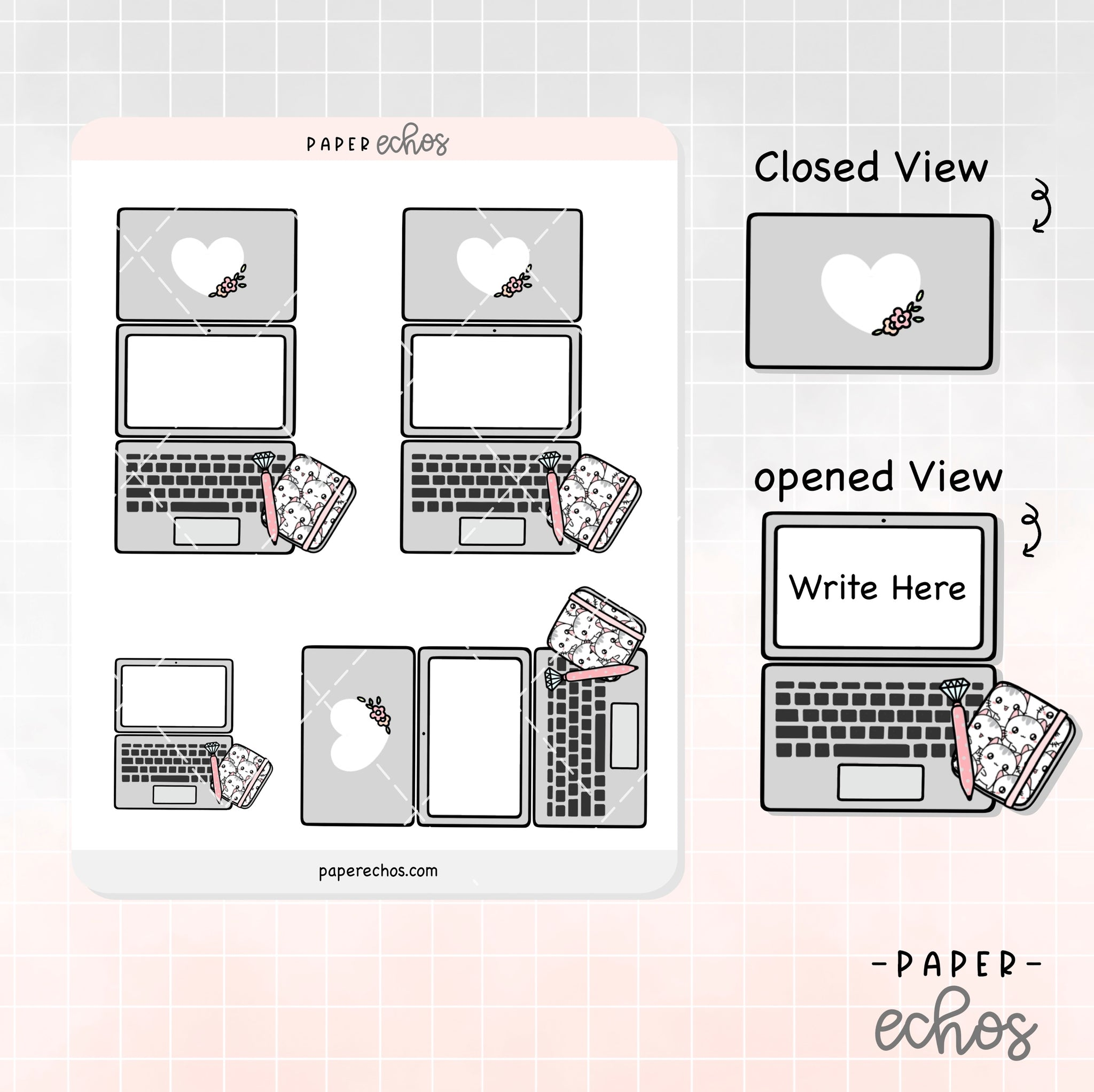 Laptop Grey Foldable Planner Sticker (FD002)