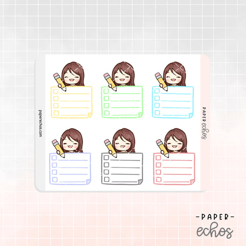 Sunny Working / Studying Checklist Box Functional Planner stickers (FT017)