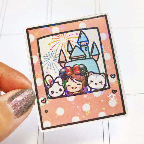 Disney Land Instant Photo Holographic Flake Die Cut Sticker (DC020)