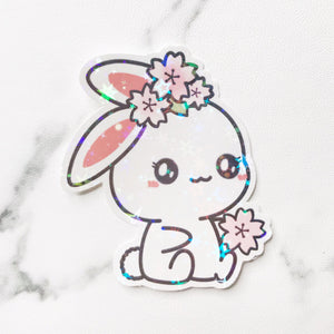 Sugar Bun the Bunny Cherry Blossom Holographic Flake Die Cut Sticker (DC031)