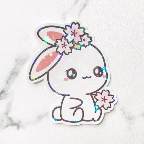 Sugar Bun the Bunny Cherry Blossom Vinyl Holographic Flake Die Cut Sticker (DC031)