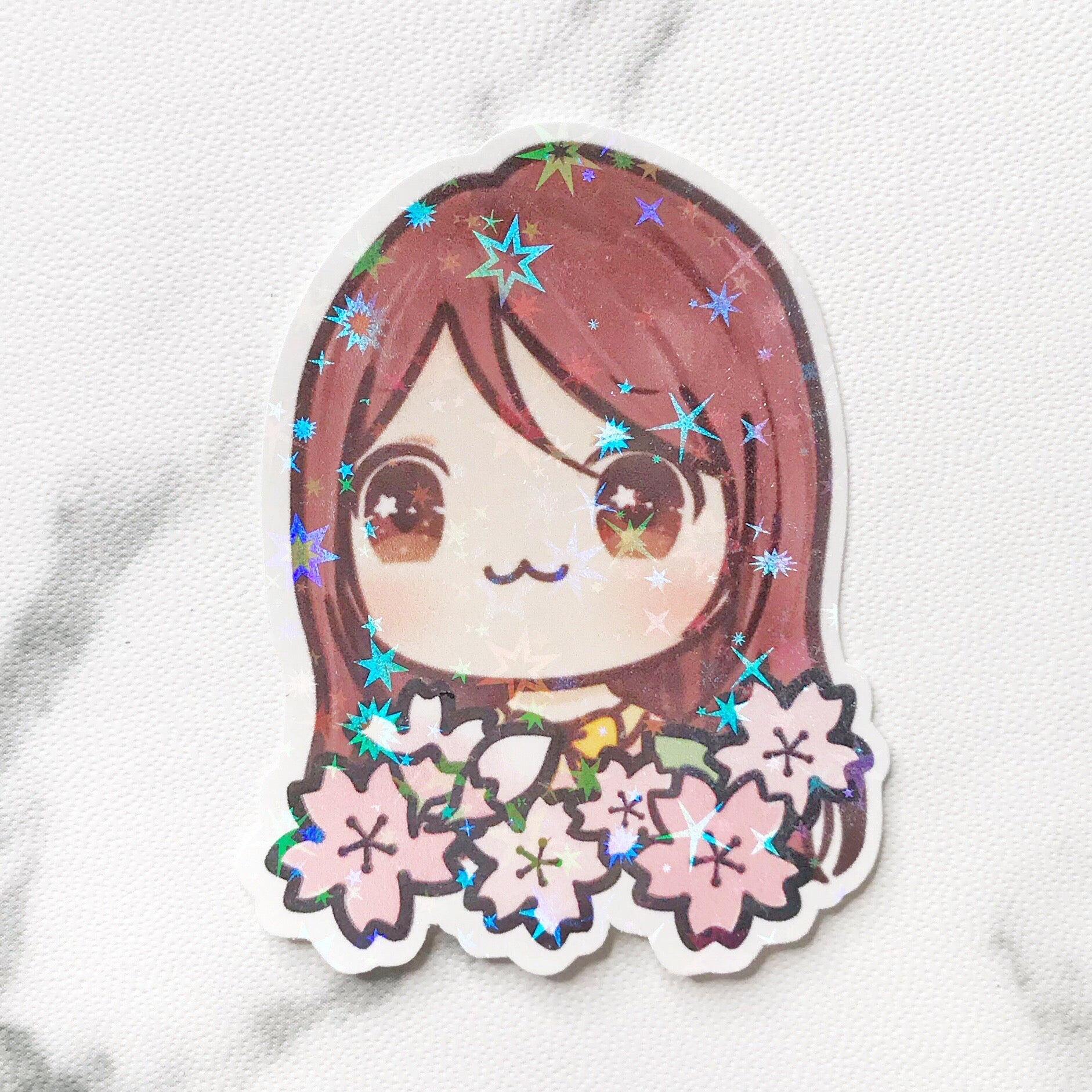 Cherry Blossom Sunny the Girl Holographic Flake Die Cut Sticker (DC030)
