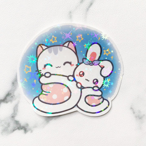 Cozy Night Vinyl Holographic Flake Die Cut Sticker (DC032)