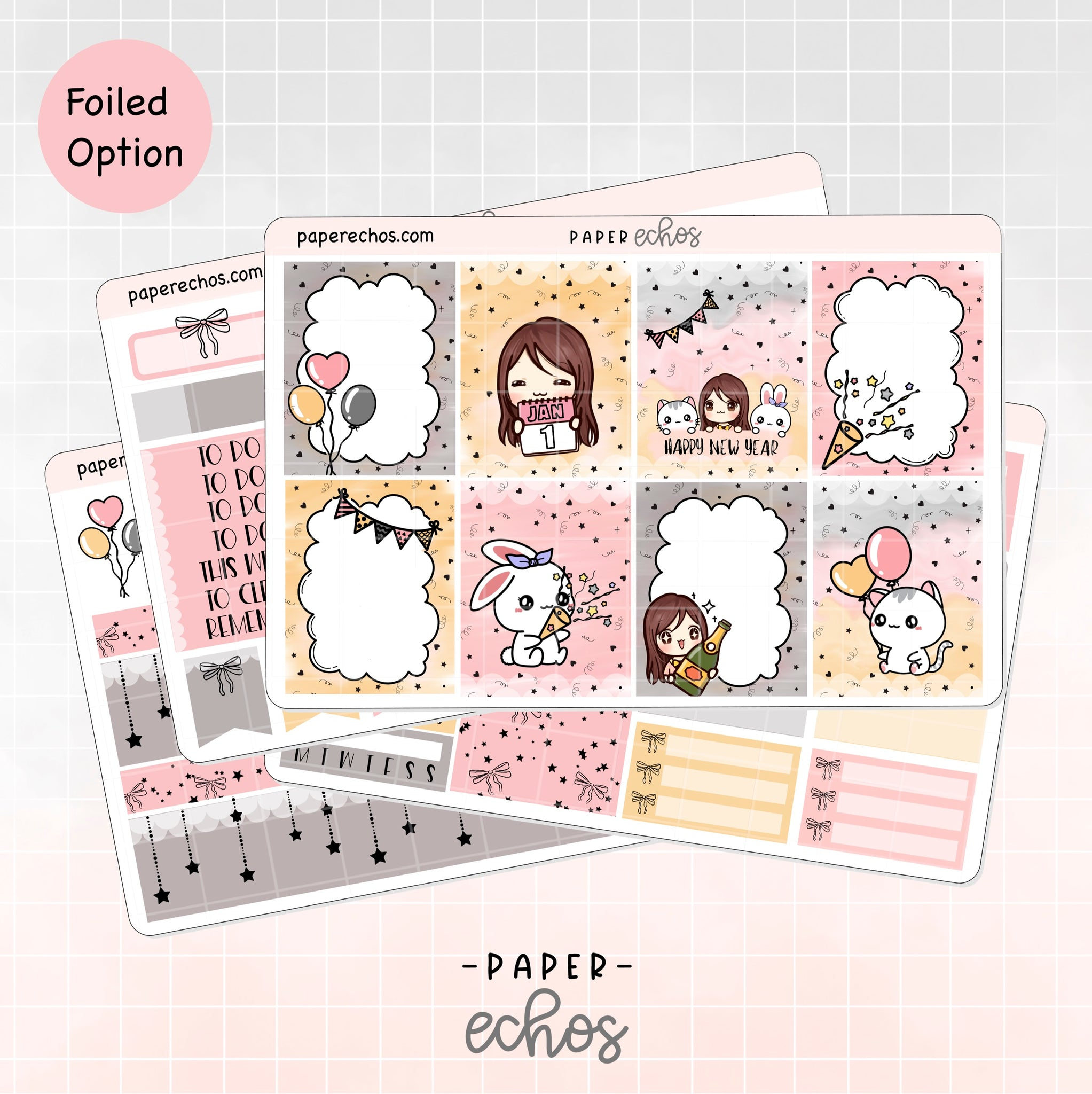 Happy New Year Hand Draw Weekly Kit Foiled Options (WKNY)