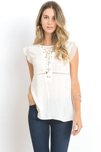 white flutter sleeve