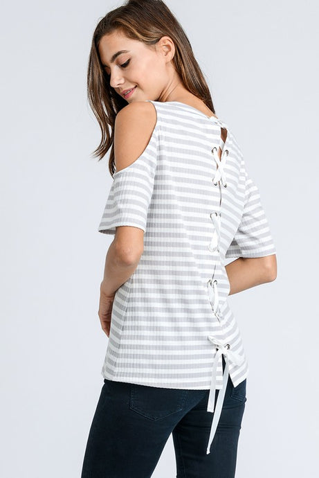 Stripped Cold Shoulder Top