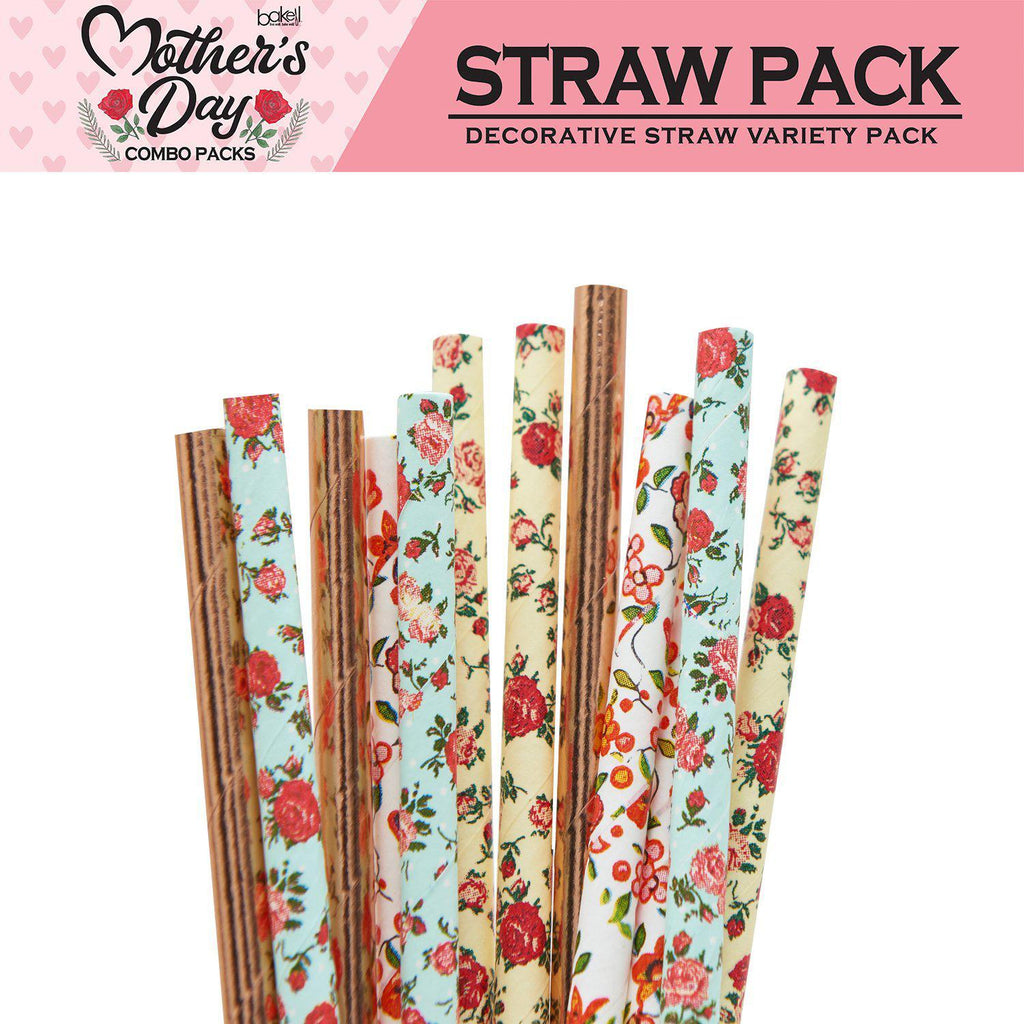 Mother's Day Collection Cocktail Stirring Straws Garden Variety Combo Pack (4 PC SET)