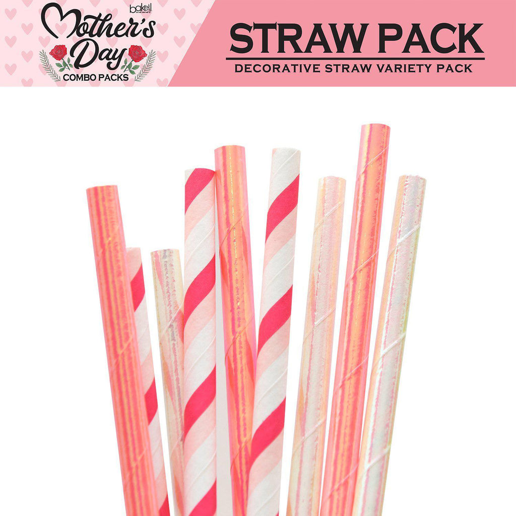 Mother's Day Collection Cocktail Stirring Straws Pink Passion Combo Pack (4 PC SET)